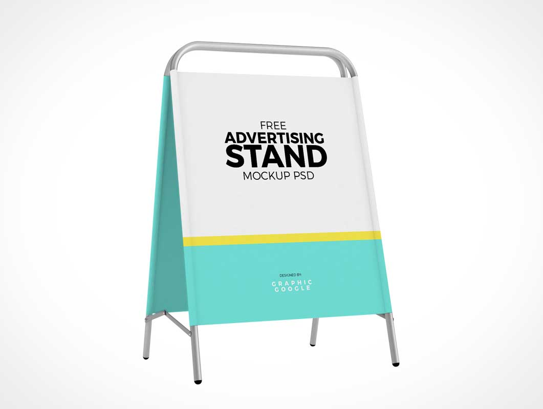 Fabric Storefront Folding Signboard PSD Mockup