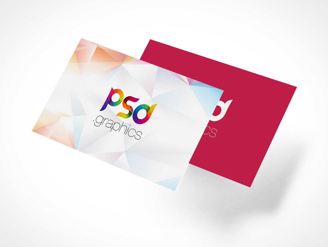 Floating Business Card Pair Front & Back PSD Mockup
