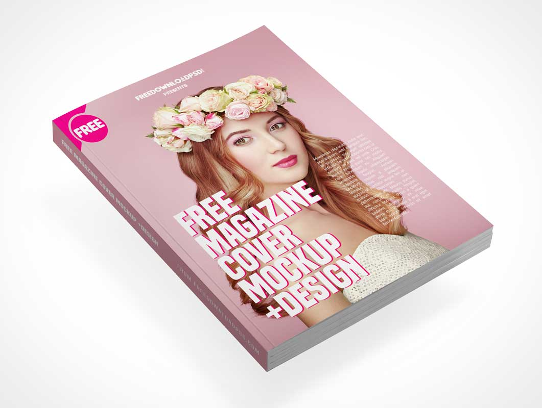 Floating Fashion Magazine Front Cover PSD Mockup