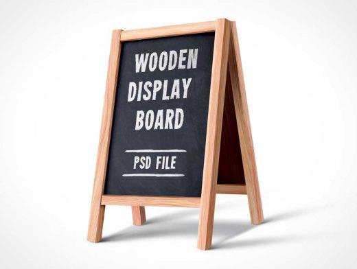 Folding A-Frame Chalk Signboard PSD Mockup