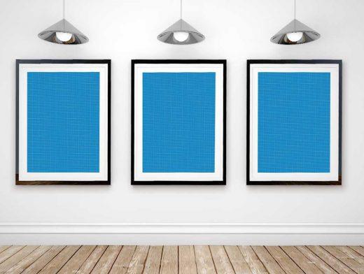 Framed Poster Art Gallery PSD Mockup