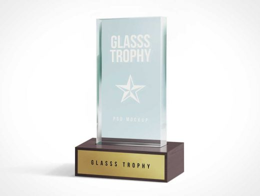 Glass Trophy Achievement Plaque PSD Mockup