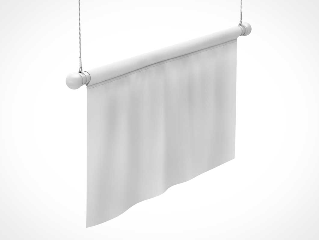 Hanging Fabric Advertising Banner PSD Mockup