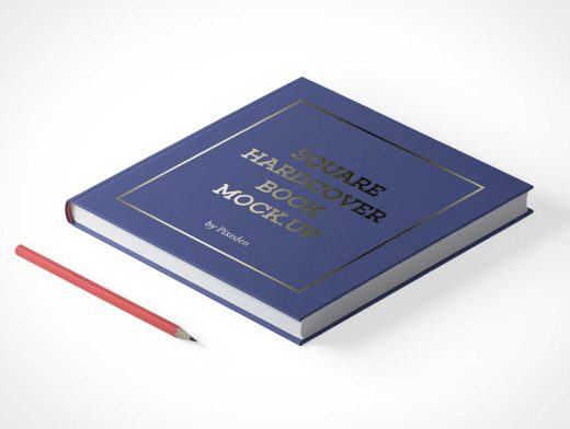 Hardcover Book Closed Laying Down Face Up PSD Mockup