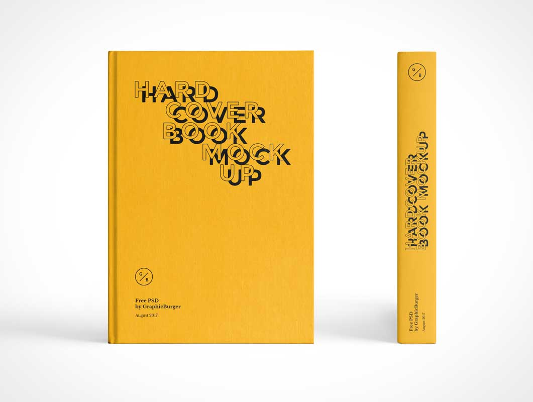 Hardcover Book Front Cover & Spine PSD Mockup