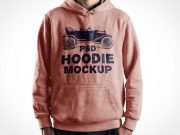 Hoodie Sweater With Pouch Pockets Front Side PSD Mockup