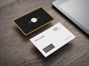 Hovering Business Cards Front & Back PSD Mockup