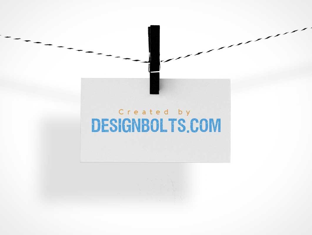 Landscape Business Card Pinned To Clothesline PSD Mockup