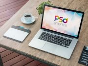 MacBook Outdoor Workspace & Wacom Tablet PSD Mockup