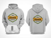 Men's Hoodie Sweater Front & Back Views PSD Mockup