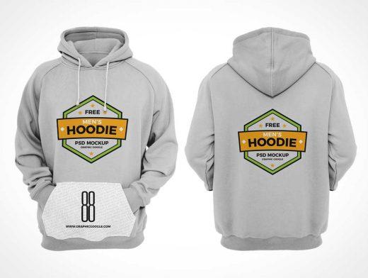 Men's Hoodie Sweater Front & Back Views PSD Mockup