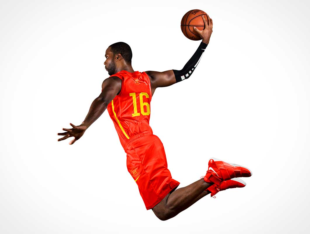 NBA Player & Basketball Dunk In Progress PSD Mockup