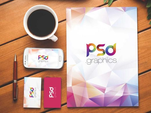 Office Stationery Letterhead, Pen, Business Cards & Smartphone PSD Mockup