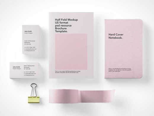 Overhead Stationery Branding Brochures, Binder Clips, Letterhead & Office Tape PSD Mockups
