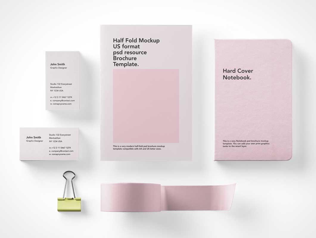 Overhead Stationery Branding Brochures, Binder Clips, Letterhead & Office Tape PSD Mockups