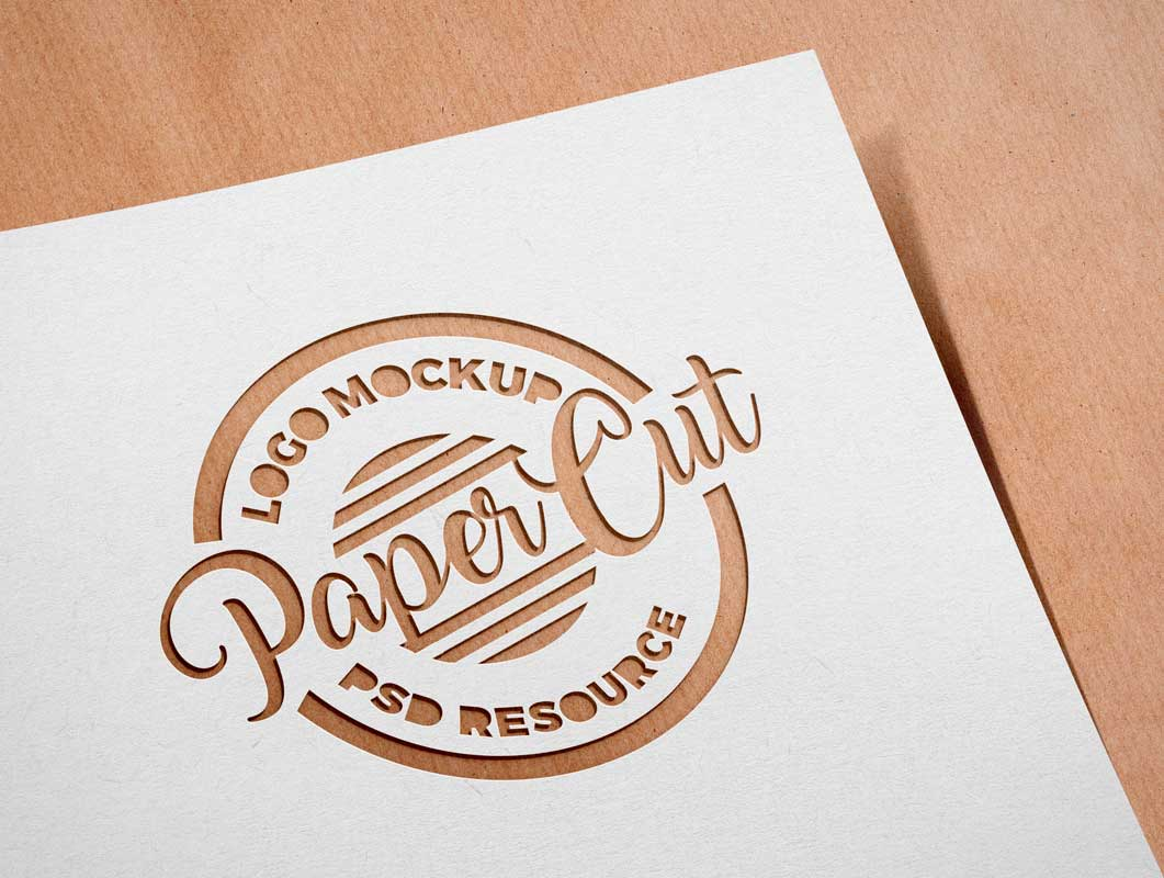 Paper Sheet Cutout Effect Over Recycled Cardboard PSD Mockup