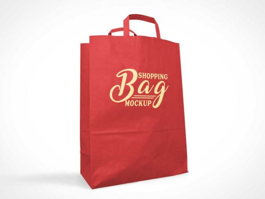 Paper Shopping Bag Front & Carry Handles PSD Mockup