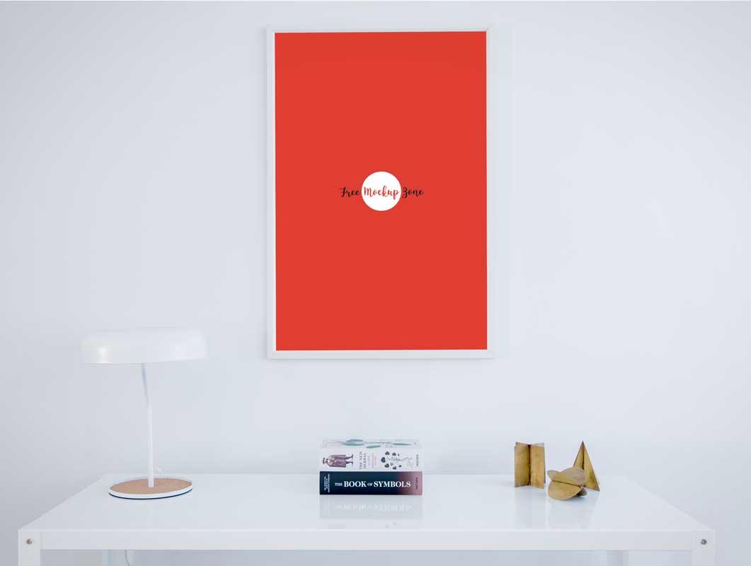 photo poster frame white desk psd mockup - White Poster Frame