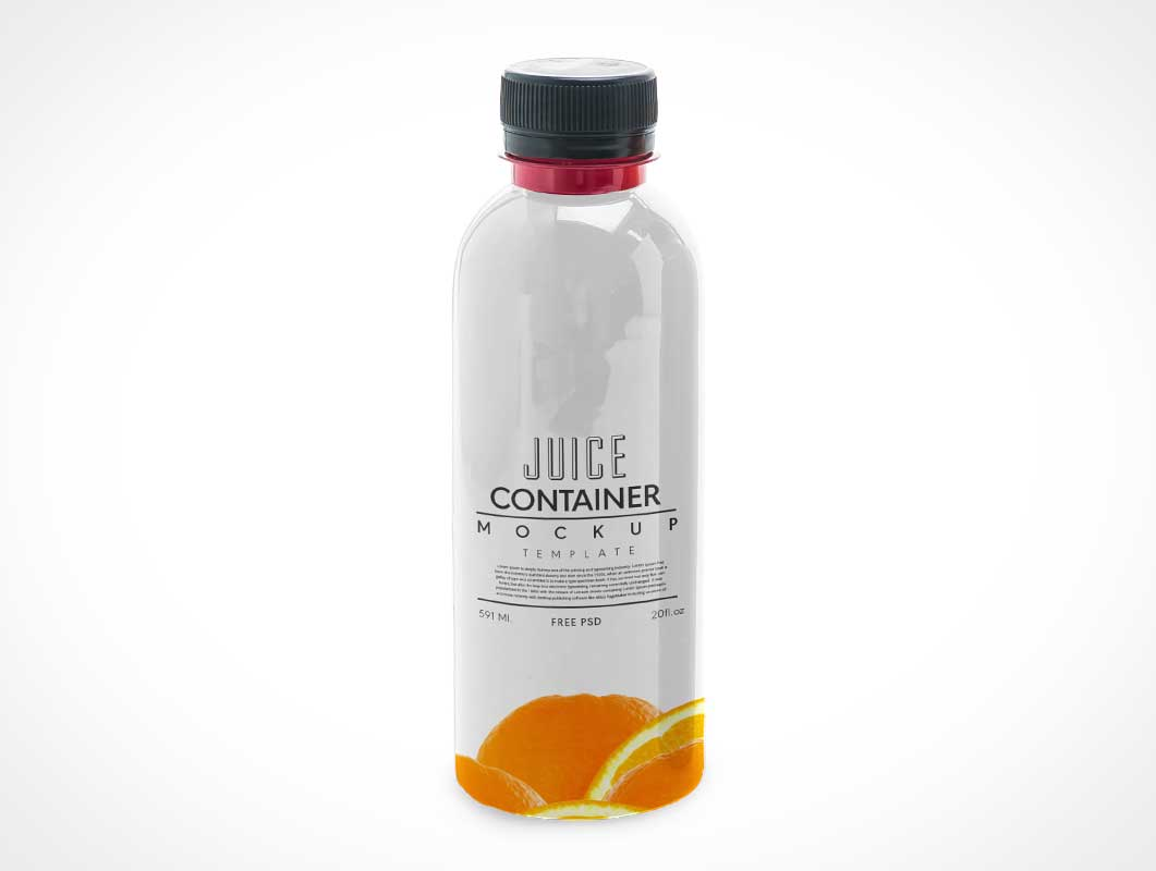 Plastic Fruit Juice Bottle & Twist Cap PSD Mockup