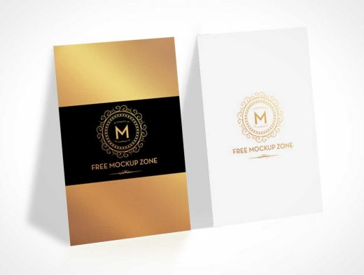 Portrait Mode Business Cards Front & Back Presentation PSD Mockup