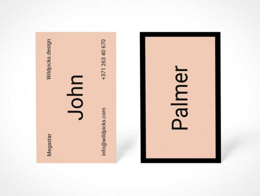 Portrait Mode Front & Back Business Card PSD Mockup
