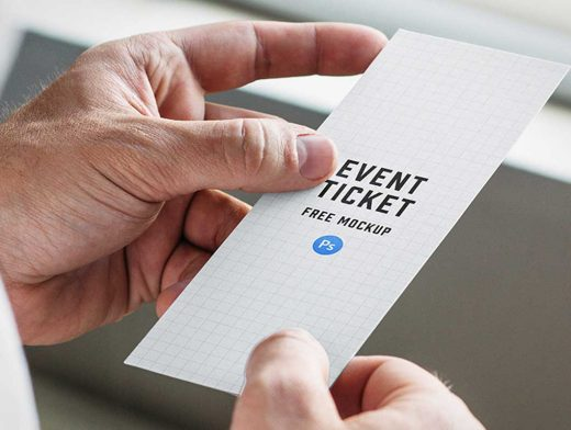 Rectangular Event Ticket In Hand PSD Mockup