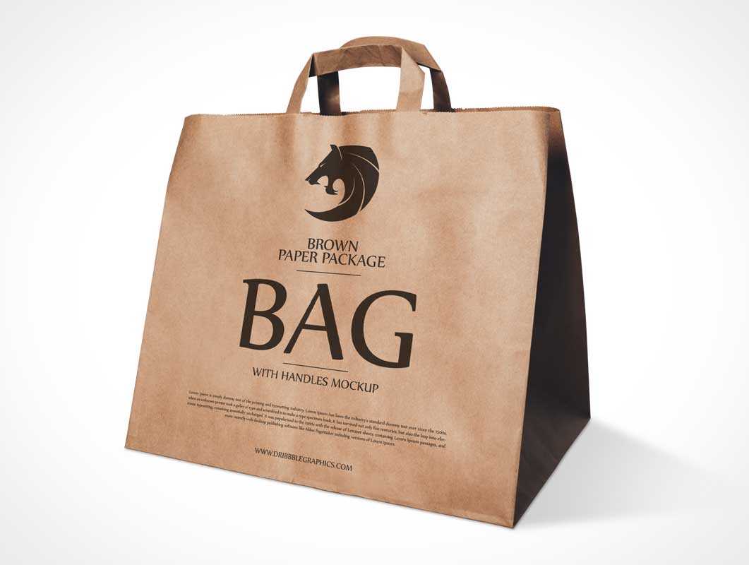 Recycled Brown Paper Bag Branding & Carry Handles PSD Mockup