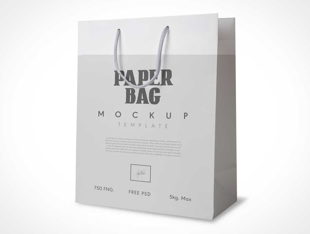 Reusable Multipurpose Shopping Bag & String Rope Carry Handles PSD Mockup