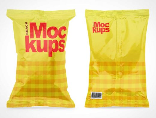 Snack Bag Packaging Front & Back PSD Mockup