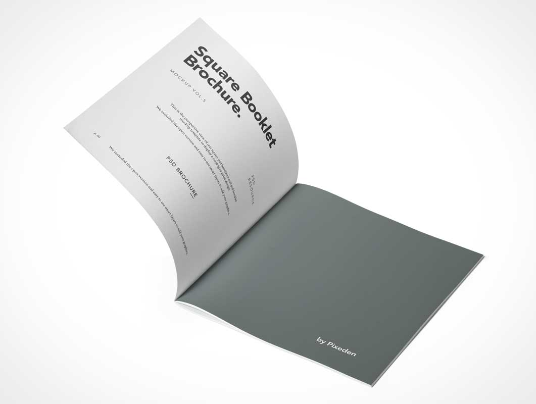 Square Brochure Inside Left & Right Pages PSD Mockup