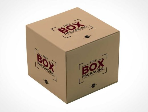 Square Corrugated Cardboard Shipping Box PSD Mockup