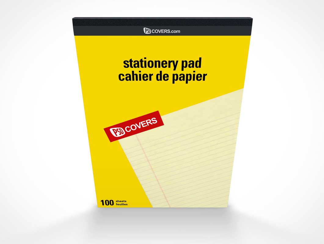Stationery Pad 100 Sheets Front Cover PSD Mockup