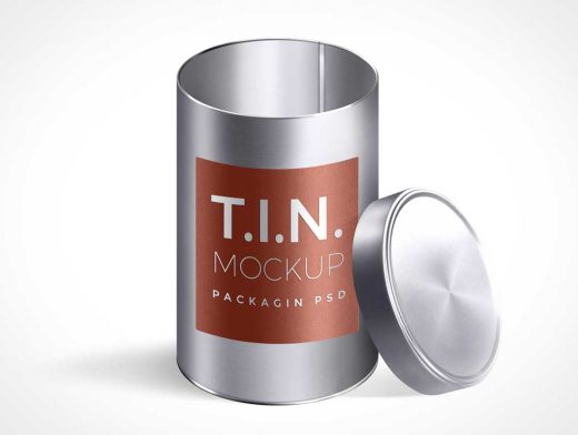 Tin Container Packaging PSD Mockups