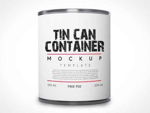 Tin Produce Can & Label PSD Mockup