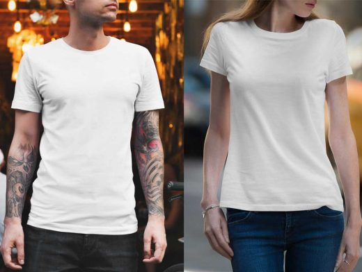 Women & Men's Round Neck T-Shirt Front PSD Mockup