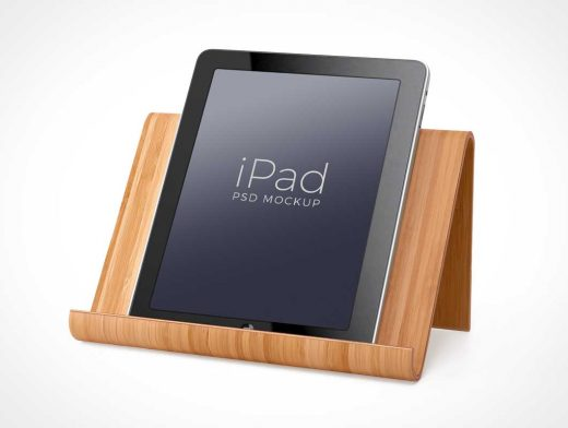 iPad Wooden Stand Portrait Mode Display PSD Mockup