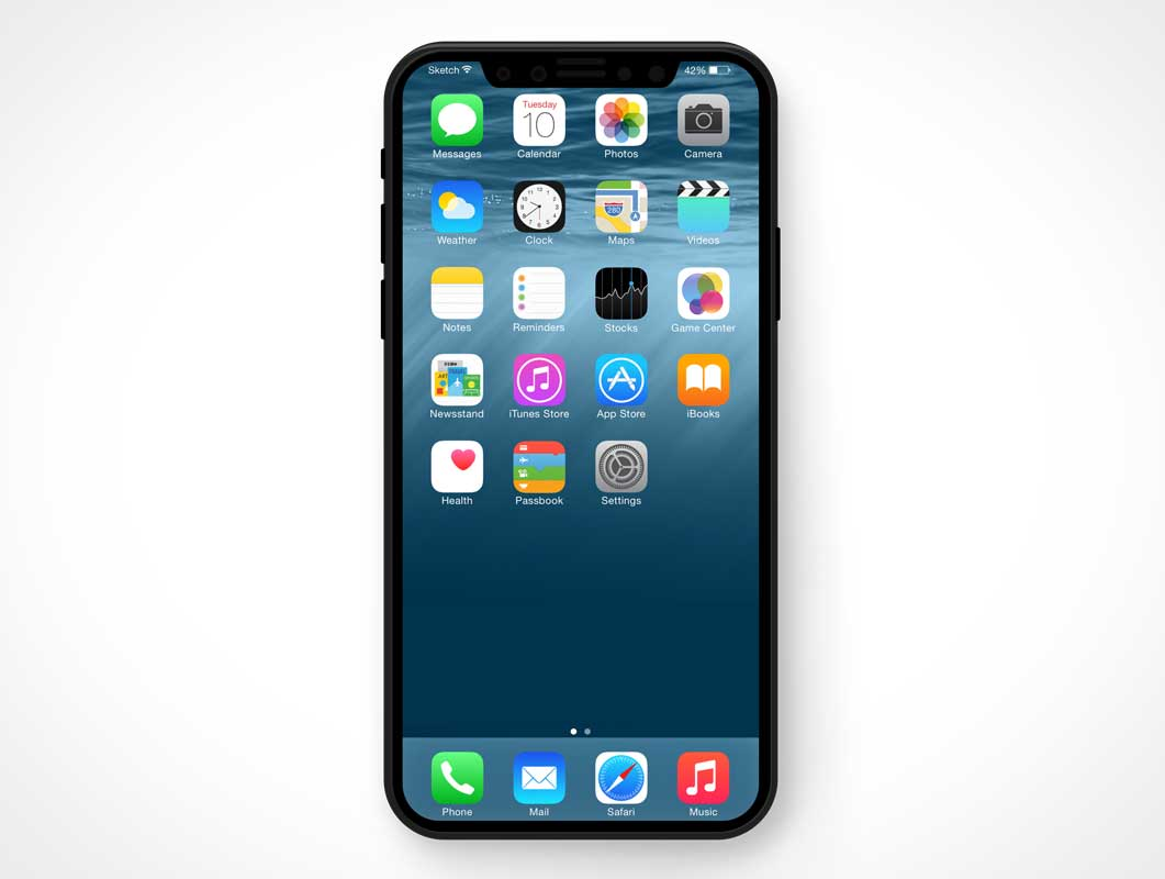 iPhone 8 Smartphone Front Display PSD Mockup