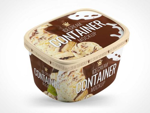 3 Ice Cream Container Tubs PSD Mockup