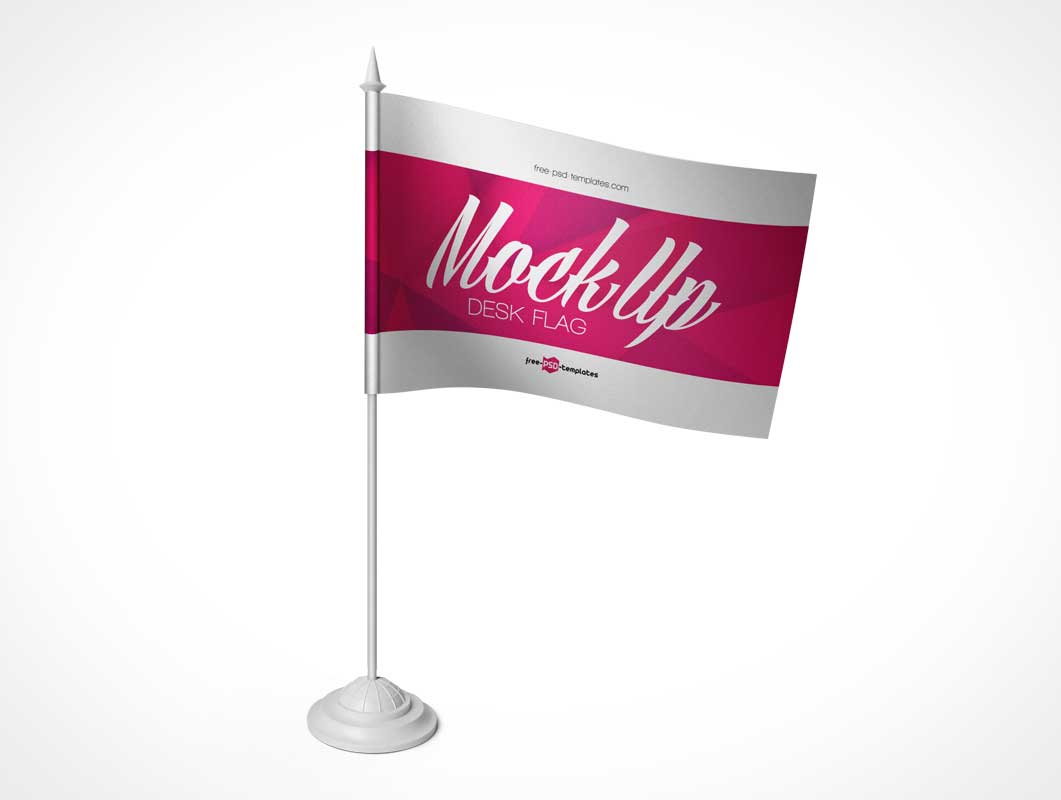 3 Office Desk Flags Various States PSD Mockup