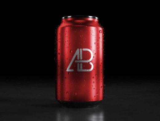 3D 5K Generic Soda Can & Condensation Drops PSD Mockup