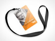 4 Event Pass Badge Types, Clips & Lanyards PSD Mockup