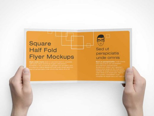 6 Square Bi-Fold Brochure Front, Back & Inside Panels PSD Mockup
