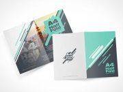 Bi-Fold Flyer Leaflets Front & Back Panels PSD Mockup