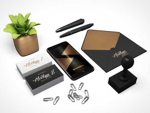 Business Cards, Envelopes, Paper Clips Office Stationery & Company iPhone PSD Mockup