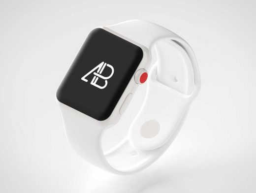 Ceramic Body Apple Watch 3 & Wristband Strap PSD Mockup