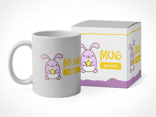Ceramic Mug & Box Packaging PSD Mockup