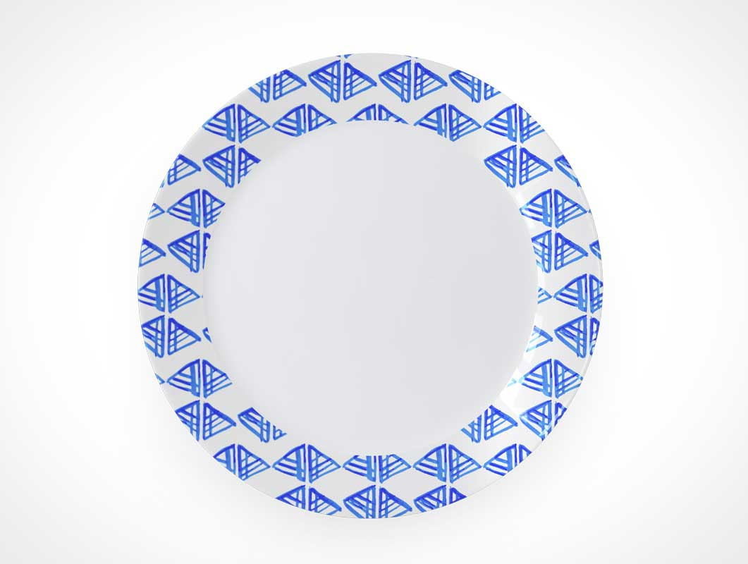 Ceramic Raised Rim Dish Plate PSD Mockup