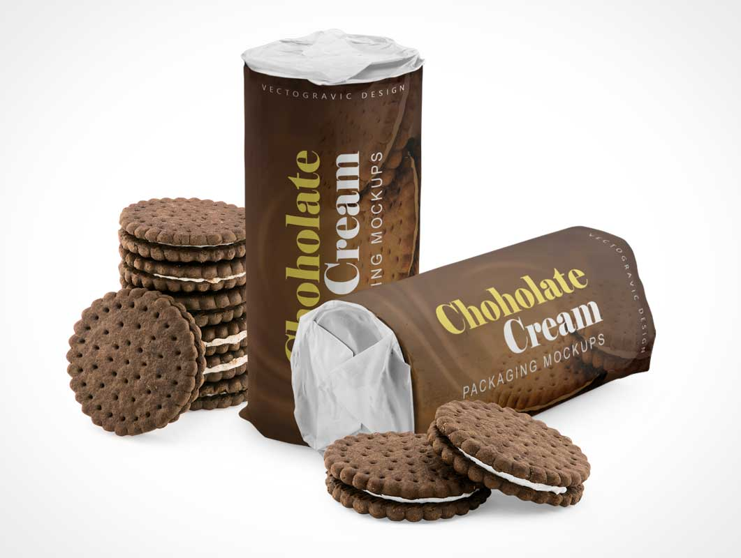 Chocolate Cream Cookies Tube Packaging PSD Mockup