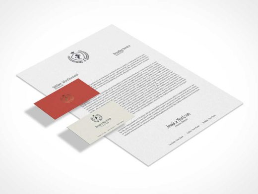 Classic Isometric Stationery Letterhead & Business Cards PSD Mockup
