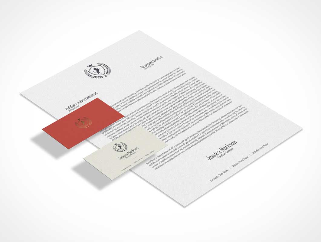 Classic Isometric Stationery Letterhead & Business Cards PSD Mockup ...